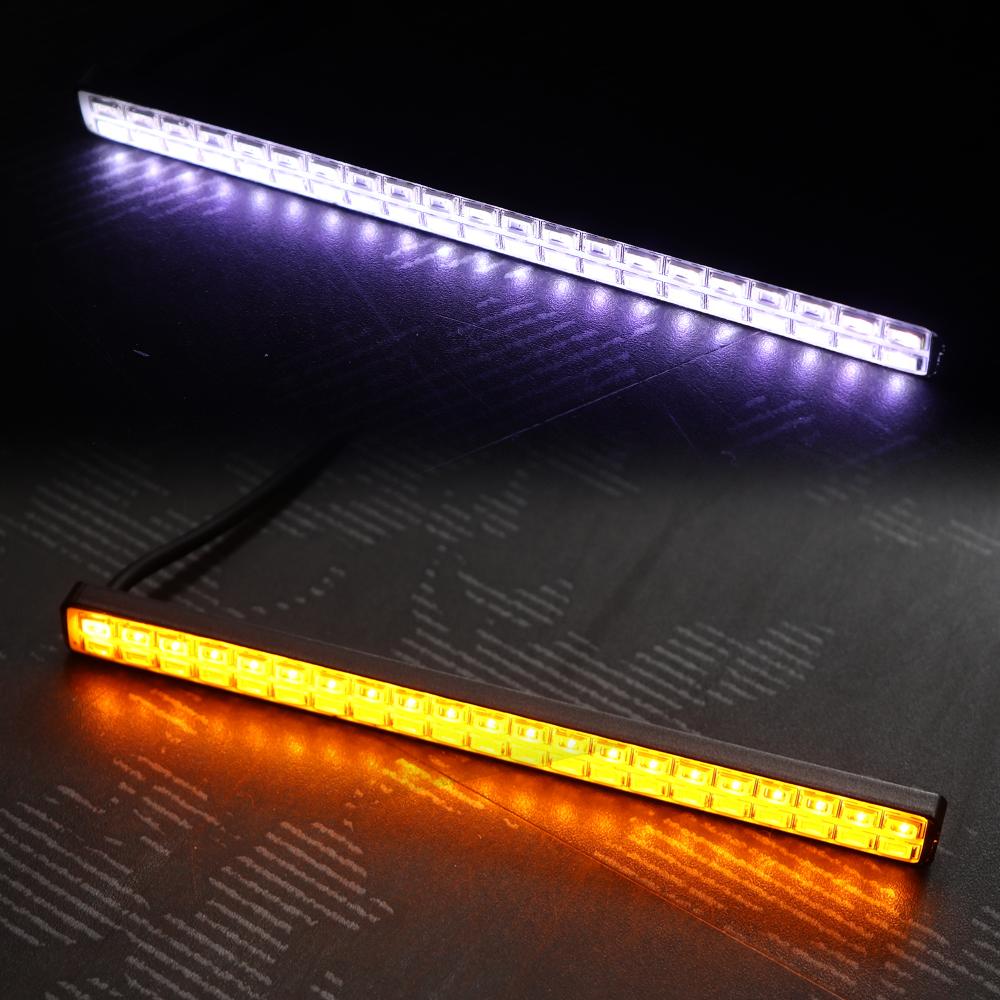 LED デイライト アンバー/ホワイト 切替式 連動機能 ダブルカラー 汎用性抜群 21発×2列 156mm幅 DAYLIGHT デイランプ ウインカー連動