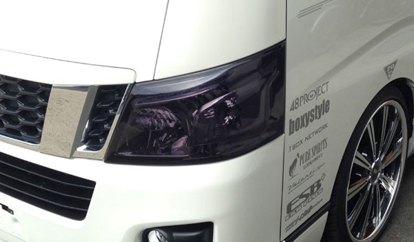 NV350 キャラバン E26 ワイド ナロー ヘッドライトスモークフィルター LEGANCE レガンス 外装