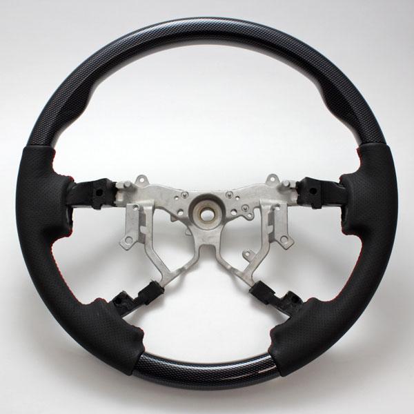 ブラックカーボンルックスポーツステアリング ハイエース4型 ハンドル