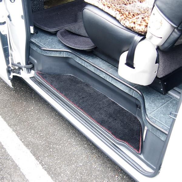 ステップマット 電動スライドドア用 ハイエース 200系 SGL ステップカバー エントランスマット フロアマット レッドステッチ 内装 インテリア パーツ