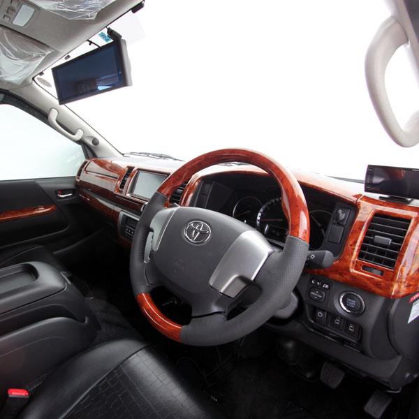 ハイエース 200系 4型 S-GL 15P インテリアパネル 茶木目 カスタム ウッド調 落ち着き カスタム パーツ カバー 貼り付け 内装 パーツ インテリア