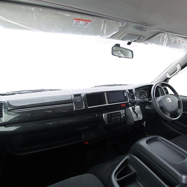 ハイエース 200系 4型 S-GL ワイド 15P インテリアパネル 黒木目 カスタム ウッド調 落ち着き カスタム カバー 貼り付け ブラック 内装 パーツ インテリア