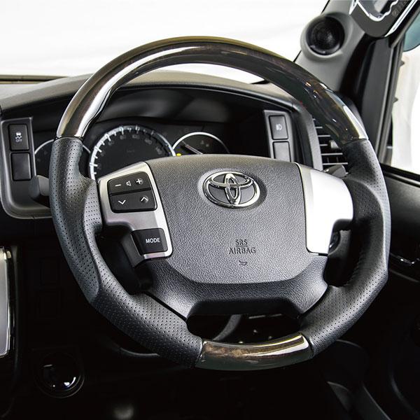 200系 ハイエース 専用 ステアリング マホガニー 特別使用車 ダークプライム 近似色 限定 黒木調 スーパーGL DARK PRIME ワイド ナロー