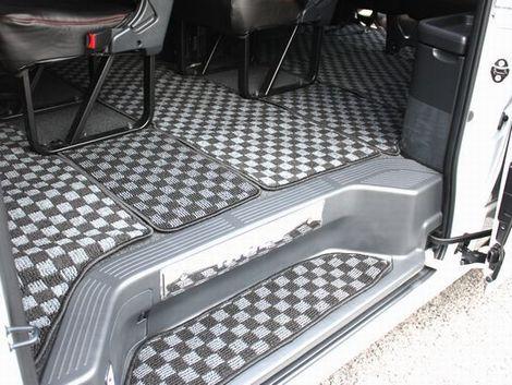フロアマット 200系 ハイエース 1型 2型 3型 4型 ワゴン GL用 オールカバー フルセット 1台分 カーゴ トランク フロント リア 全面 市松模様 チェッカー チェック柄 内装 インテリア パーツ
