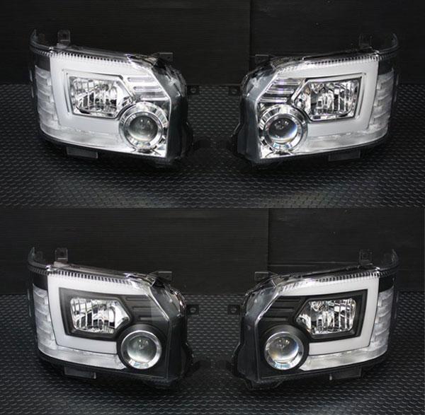 200系 ハイエース 4型 LEDBAR プロジェクターLEDヘッドライト【LED車】 ブラックインナー/クロームインナー 【シーケンシャルウインカー】【レべライザー内蔵】