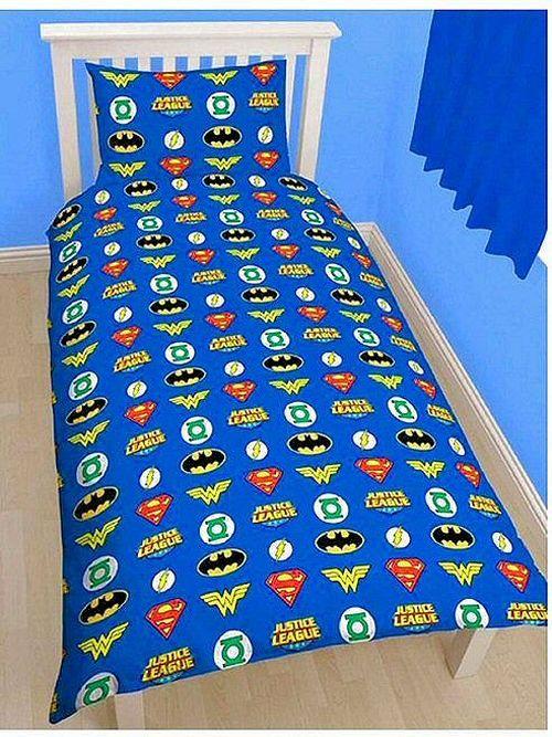 [DC 漫画超级英雄: 今晚安心睡眠将保护正义联盟被套 & 枕头盖复古 / 多媒体设计神奇女侠超人蝙蝠侠我所以可逆交易! / 从海外进口 /]