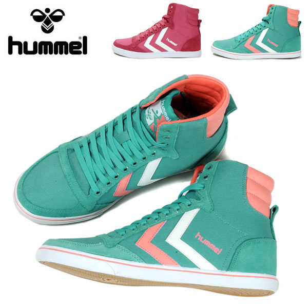 Hummel SLIMMER STADIL CANVAS HIGH Hummel studielcainbushai ladies sneaker shoes  high cut leather HM63735 HN63737 shoes shoes women Green Pink honeysuckle  ...