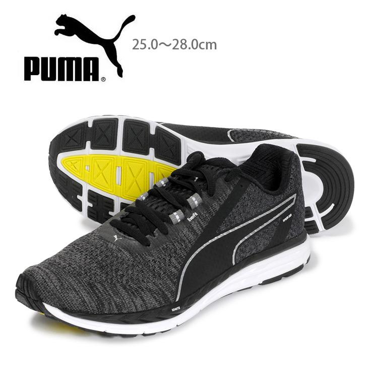 PUMA Speed 500 IGNITE 3 メンズローカットスニーカーシューズ 25 25.5 26 26.5 27 27.5 28 プーマ スピード500イグナイト3 191021 男性用 靴 くつ レースアップ 紐 ひも ニット 黒 ブラック あす楽 送料無料【ラッキーシール対応】
