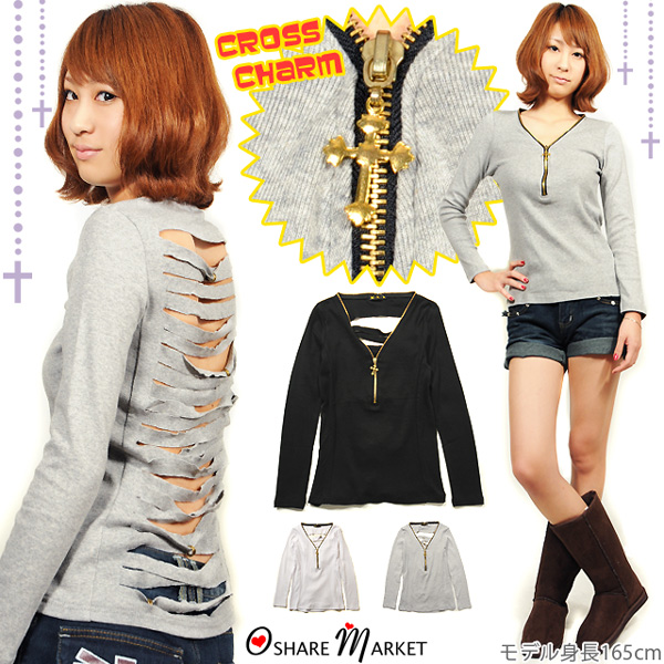 Innovative ZIP your cross charm with ☆ back damage processing T shortcut saw / long sleeve / long T shirt