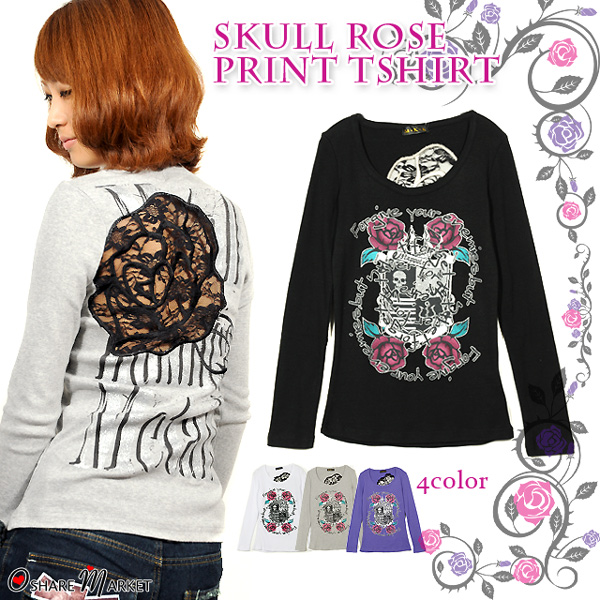 Back floral lace SEXY ☆ skull & roses print long-sleeved T shortcut saw.