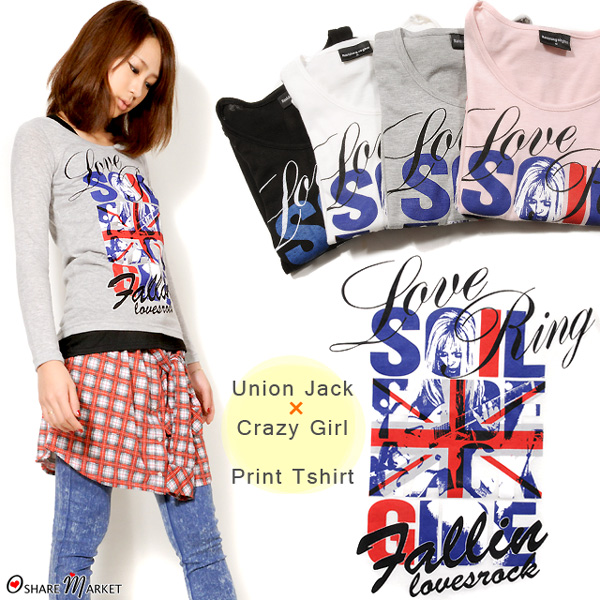 Union Jack x punk girl long sleeve T shirt