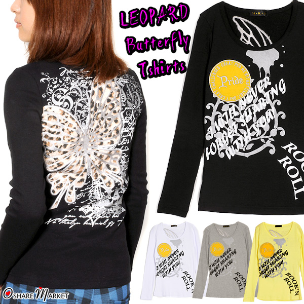 Lam print T-shirt long sleeves U neck crew neck black white 杢 gray pink crown butterfly of the leopard pattern butterfly
