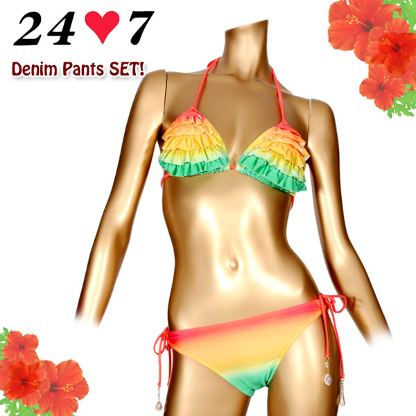 24.7 (twenty four seven) brand swimsuit ☆ gradation frill triangle bikini sets