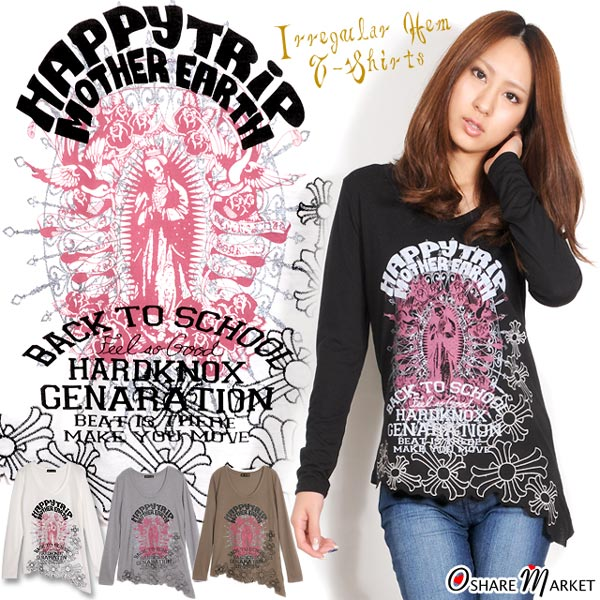 Gothic-style skeleton print ☆ cross embroidery irregular hem line T-shirt long sleeves cross scull U neck transformation hem Maria black white gray khaki M