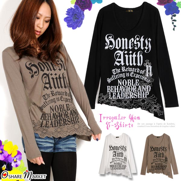 Gothic-style alphabet print ☆ cross embroidery irregular hem line T-shirt long sleeves cross English letter U neck transformation hem logo print black white khaki M