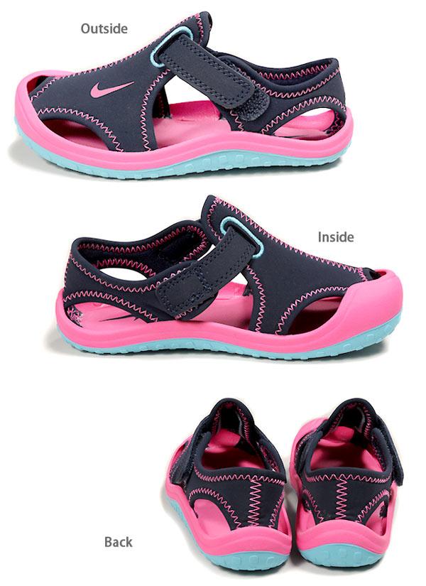 孩子們 Jr 耐克 Nike 新蕾保護新蕾保護運動涼鞋鞋 344992 尼龍搭扣孩子的女孩女孩鞋童鞋粉紅色海軍 21 22