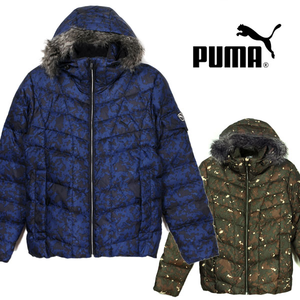 4d4f9e116b22 Large size is smaller and PUMA PUMA men s down jacket 836082 men outer  hooded Hat faux fur zip long-sleeve long sleeves winter feather green blue  Camo ...