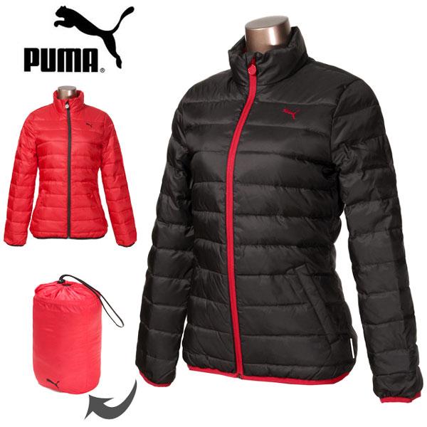 【送料無料】大きいサイズあり PUMA ILP HEAT プーマ レディース ダウンジャケット 570736 女性 婦人 アウター ジャンパー ジップアップ 収納袋 ポーチ付き 無地 ブラック レッド 黒 赤 S M L XL