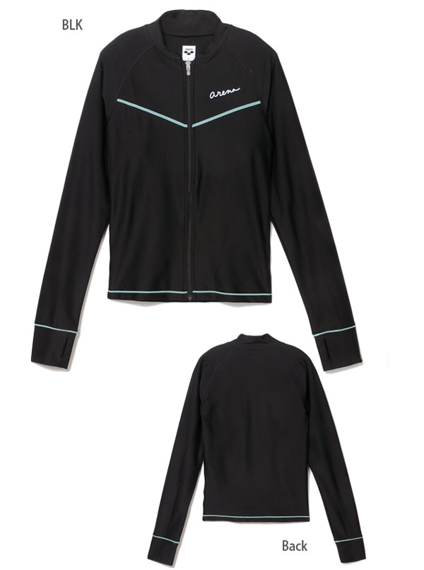 Large size and arena arena long sleeve rash guard ladies ASN-5408 W swimsuit zip diffrence padded finger holes with long sleeve UV protection UPF 50 + sun protection is getting water black grey S M L O XO