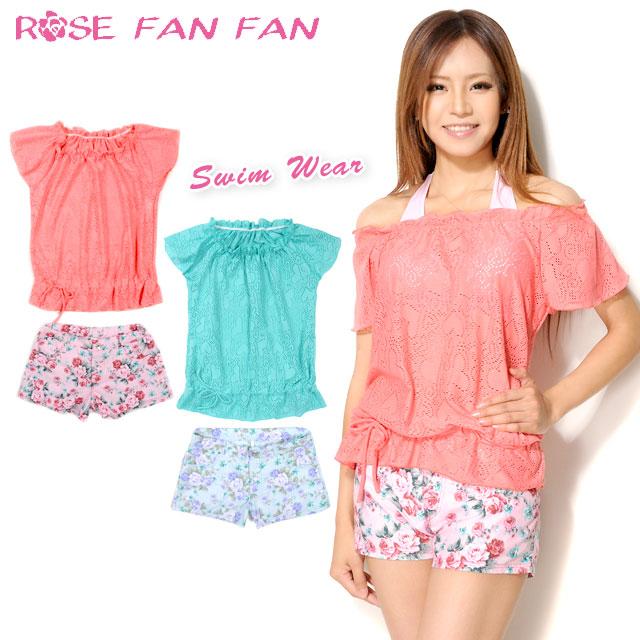 18280e7d1f768 Rose fan fan FAN FAN ROSE ladies shorts with a bikini swimsuit 4-piece set  … Small size and LACOSTE Lacoste with tops ...