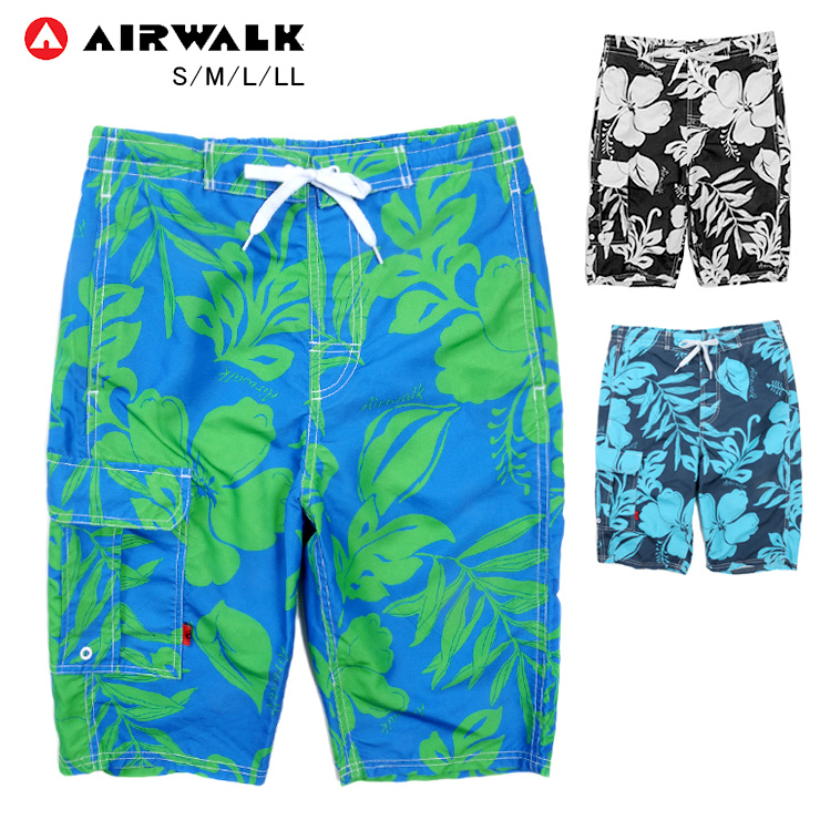 d6b543acf5 Pocket black navy blue S M L LL with the sea Bakery bathing suit trunks  hibiscus flower pattern ...