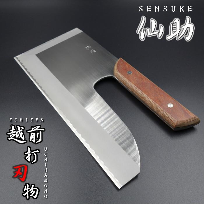 仙助 そば切包丁 左利き 越前打刃物 蕎麦切り包丁 ステン特殊鋼 330mm 茶合板柄