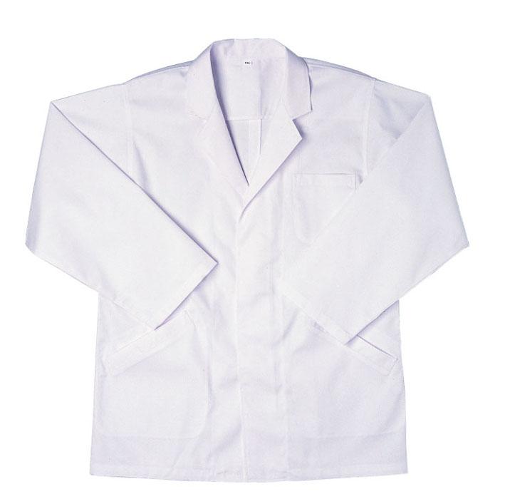 抗菌素材使用の厨房白衣です! 【BIG RUN】厨房白衣(男性用長袖襟付・袖口ゴムなし) S~4L