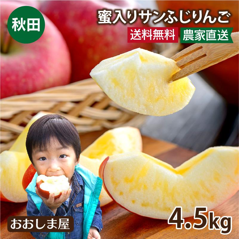 溢れる果汁とサクサクの食感がうまい もぎたて新鮮な蜜入りリンゴを秋田の農家さんより直送致します \10%OFFクーポン 秋田 りんご 蜜入りサンふじりんご 送料無料 4.5kg グルメ マート 果物 大嶌屋 約12玉-18玉前後 訳あり商品 大小混合 フルーツ おおしまや 11月下旬より順次出荷