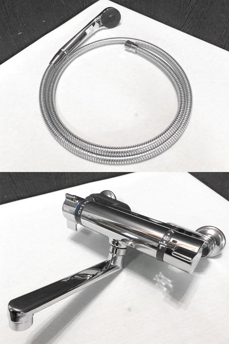 【新古品】 KVK KF800T 浴室用混合水栓セット ノーマルシャワーヘッド メタル調ホース 吐水口170 【Q1121-04】