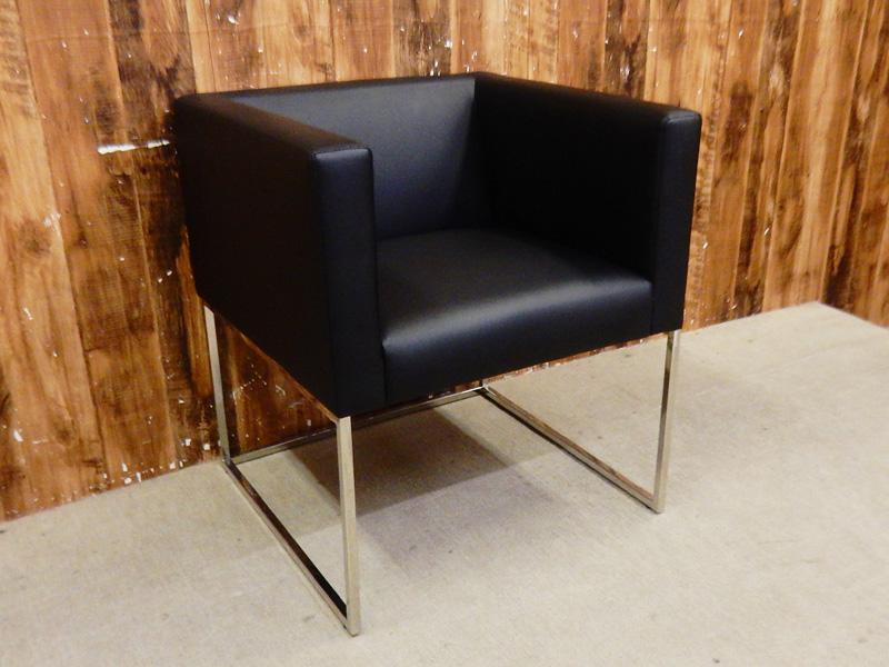 【新古品】 Abita Style (アビタスタイル) GAVI W600 レザー アームチェア ブラック 【R0517-02】