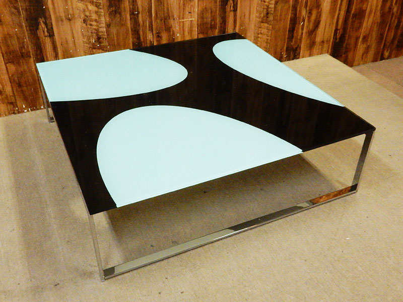 【アウトレット】 BONTEMPI CASA (ボンテンピカーサ) HIP HOP W1000 ガラス天板 センターテーブル ブラック×ホワイト 【Q0131-01】