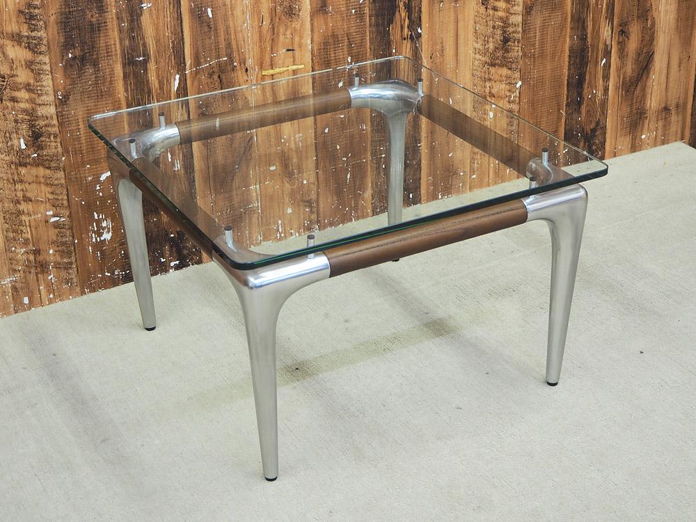 【新古品】 【展示品】 Ritzwell (リッツウェル) SI TABLE (SI テーブル) / W600 ガラス天板 サイドテーブル クリア シルバー 【A】 【T0327-02】