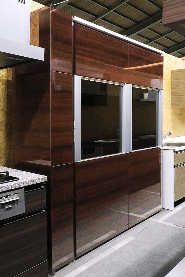 【新古品】 展示品 LIXIL W1580 トール収納 食器棚 木目調ダークブラウン 【R0514-02】