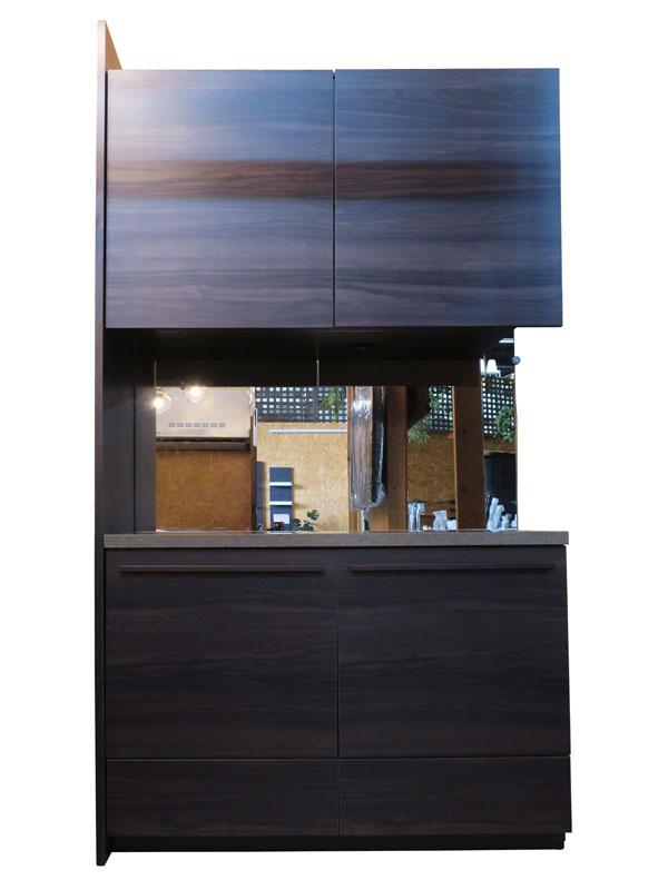 【配送地域限定】 【新古品】 展示品 W1070 クォーツストーン天板 食器棚 木目調ダークブラウン 【Q0410-01】