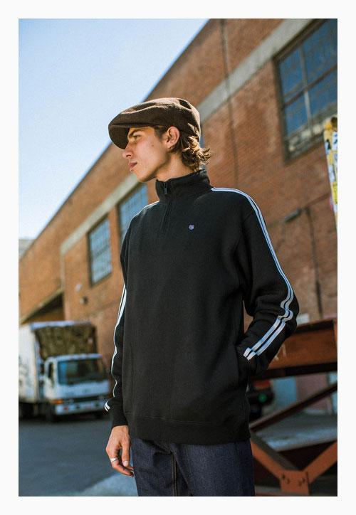 18 BRIXTON (Brixton) B-SHIELD 1 2 ZIP FLEECE sweat shirt men autumn cotton    polyester sweat shirt half zip black S-L 65654608dd7