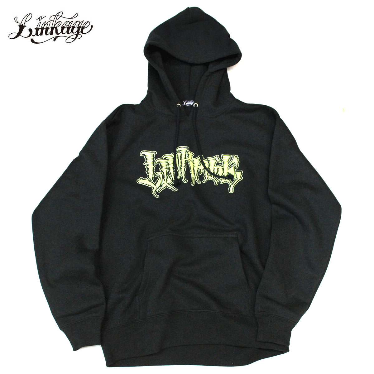 LINKAGE (linkage) NORM ALL DAY PULLOVER HOODY Grow in the dark (back raising logo pullover parka) phosphorescence shining sweat shirt men winter print pullover thermal insulation warmth worth black / Sullen Clothing / Black Scale / Us Versus Them