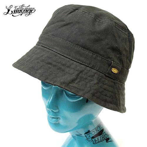 LINKAGE (linkage) CLASSIC LOGO WAXED BUCKET HAT pail hat men winter wax  cotton waterproofing dark olive M L 58cm 60cm 8587627b400