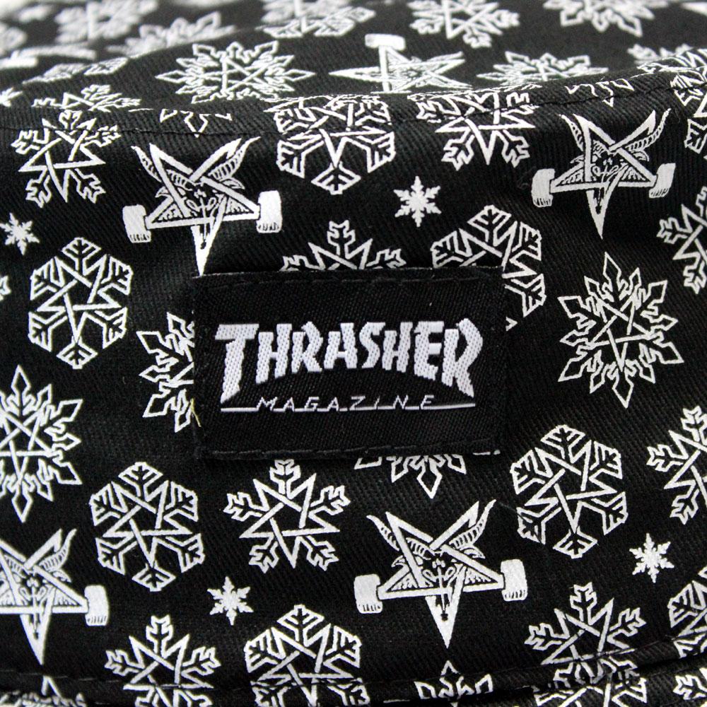 THRASHER Thrasher Skategoat Snowflake Bucket Hat Black