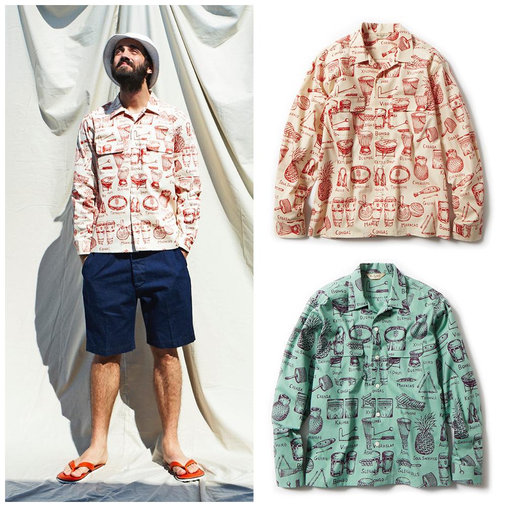 雷迪埃径向敲击 l/s aloha 男式衬衫 [2015 SS] 的径向衬衫长袖 Aloha 一般雷迪埃衬衫度假村模式