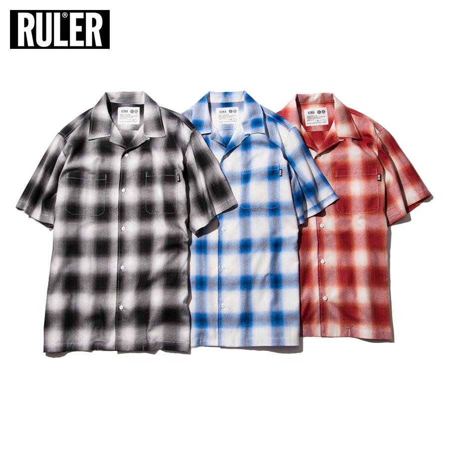 RULER (ルーラー) OPEN COLLAR OMBRE CHECK SHIRTS シャツ 半袖 メンズ 開襟 オンブレチェック 黒/青/赤 M-XXL