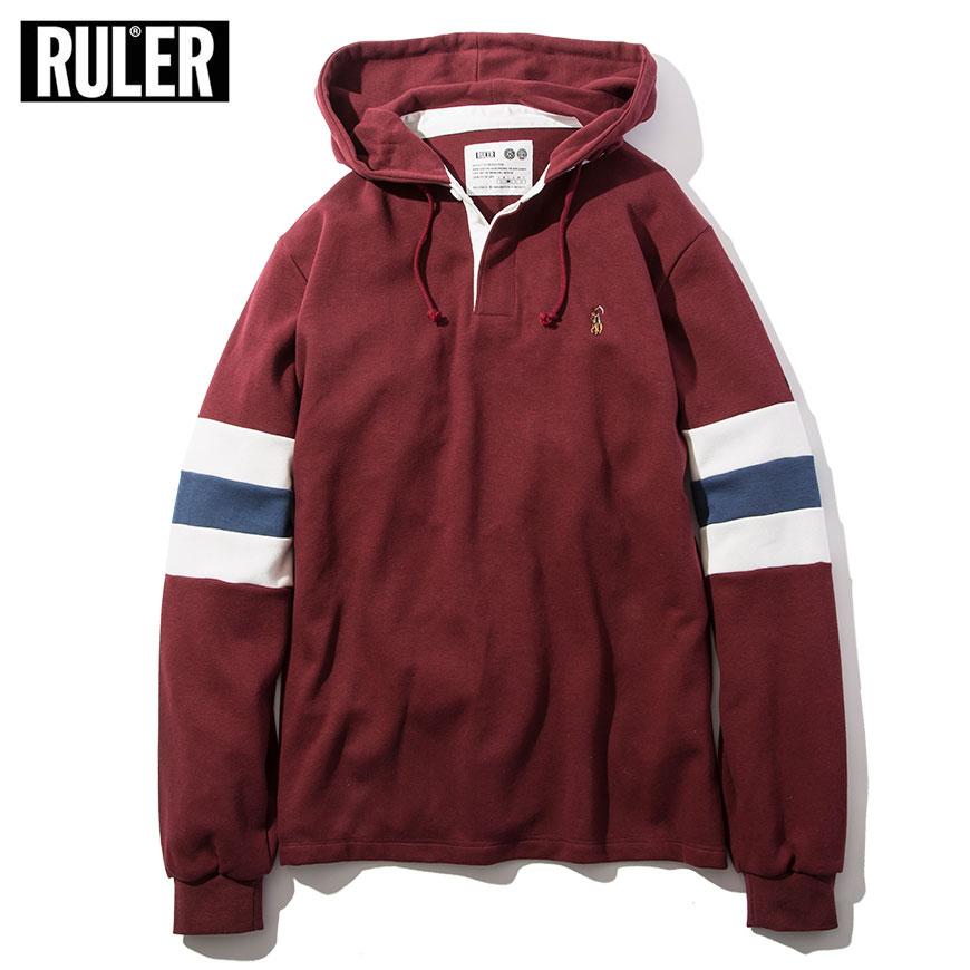 【送料無料 / 代引料込】 RULER (ルーラー) RUGBY SHIRTS ラガーシャツ 長袖 メンズ フード付き バーガンディー/黒 M-XXL