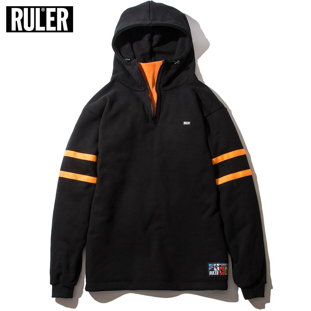 【送料無料 / 代引料込】 RULER (ルーラー) PULLOVER SWEAT HOODIE プルオーバーパーカー メンズ ハーフジップ スウェット グレー/黒 M-XXL