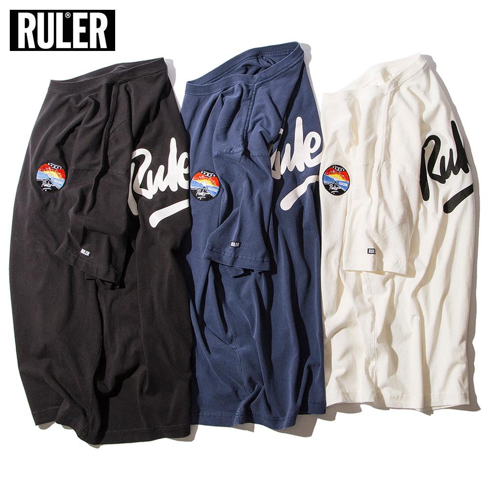 【メール便送料無料】 RULER (ルーラー) CE PIGMENT-DYE TEE Tシャツ メンズ ブランド 厚手 半袖 プリント 黒 白 ホワイト S M L XL XXL 大きいサイズ
