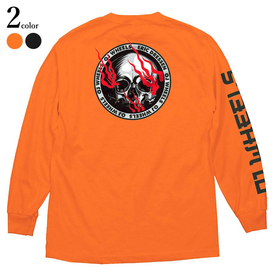 【メール便送料無料】 OJ Wheels (オージェイ ウィール) Eric Dressen Skull L/S T-Shirt スケートボード スケボー エリック ドレッセン ロンT Tシャツ メンズ ブランド 綿 厚手 長袖 バックプリント 袖プリント 黒 オレンジ M-XL 【あす楽対応】