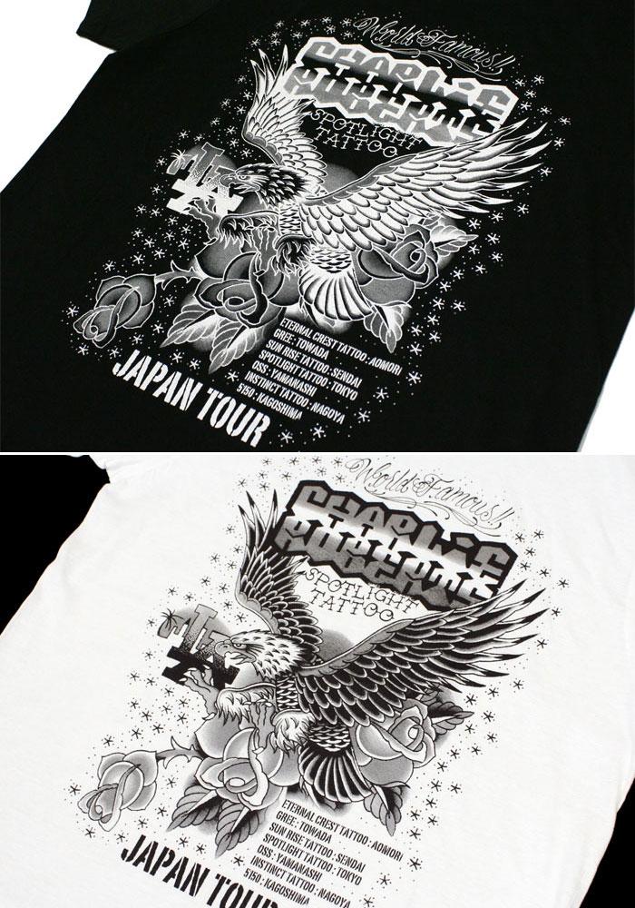 聚光灯聚光灯纹身纹身查理 · 罗伯茨日本纹身游 2012 TEE 男式 T 衬衫短袖街薄软埃德 · 哈迪