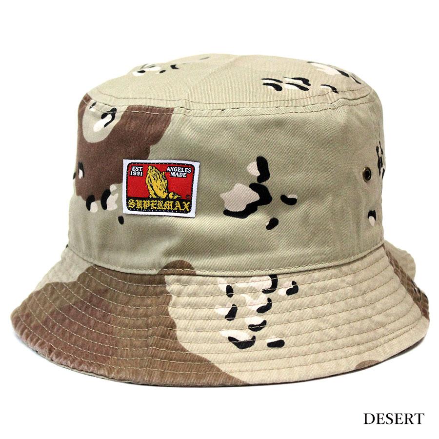 e03523409c7 SUPERMAX (super max) PRAYING HANDS LABEL bucket hat pail hat men black    camo   navy L XL