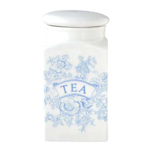 バーレイ 英国食器 Burleigh ブルーアジアティックフェザンツ スクエアキャニスター TEA イギリス/陶器/おしゃれ/保存容器/紅茶/ティー