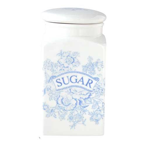 英国食器バーレイ社 ブルーアジアティックフェザンツ スクエアキャニスター SUGER イギリス/陶器/おしゃれ/保存容器/紅茶/シュガー/砂糖