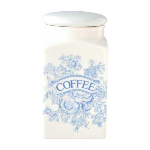 バーレイ 英国食器 Burleigh ブルーアジアティックフェザンツ スクエアキャニスター COFFEE イギリス/陶器/おしゃれ/保存容器/珈琲/コーヒー