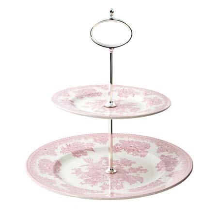 英国食器バーレイ社 ピンクアジアティックフェザンツ ティットビット 2段ケーキスタンド イギリス/アフタヌーンティー/陶器/かわいい